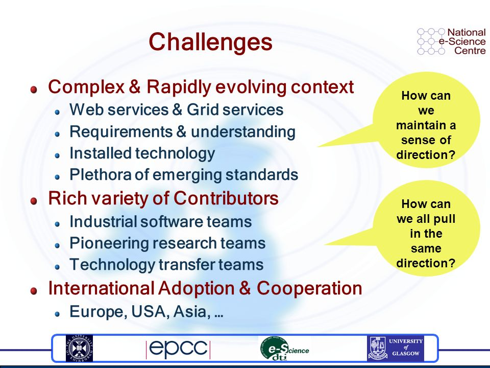 Challenges Complex & Rapidly evolving context Web services & Grid services Requirements & understanding Installed technology Plethora of emerging stan
