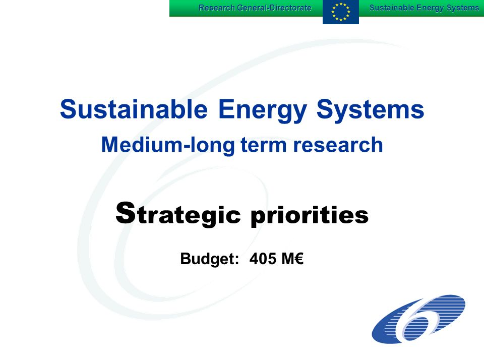 Research General-Directorate Sustainable Energy Systems Sustainable Energy Systems Medium-long term research S trategic priorities Budget: 405 M