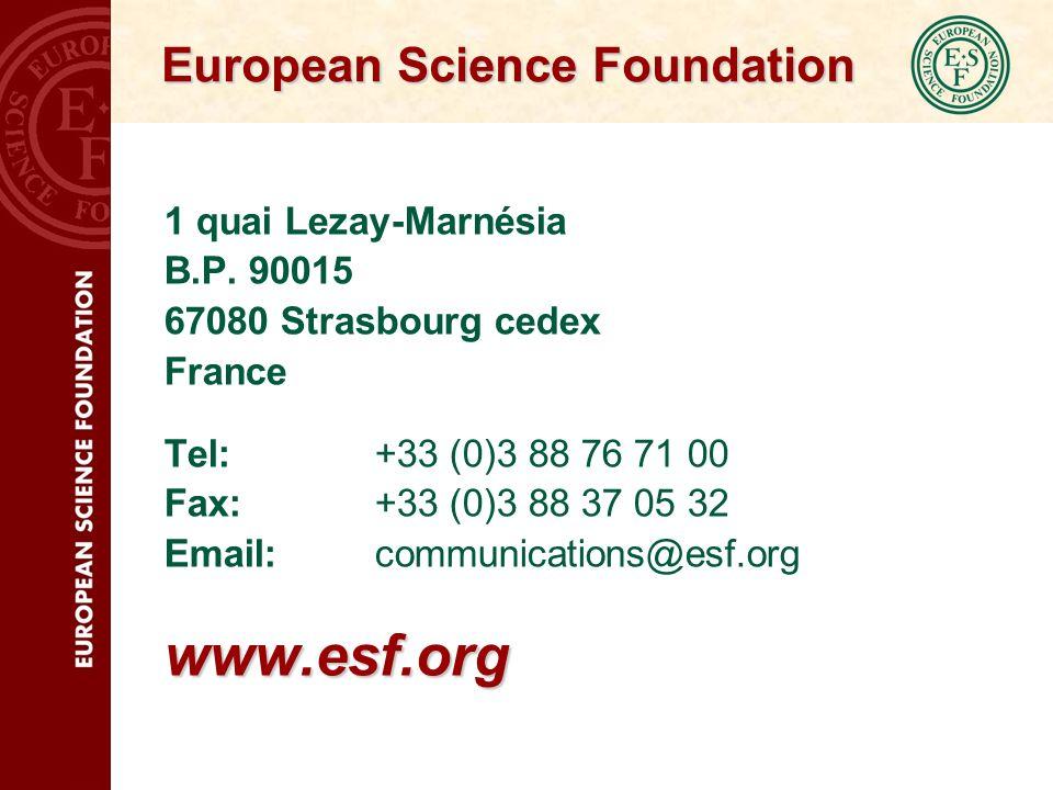 European Science Foundation 1 quai Lezay-Marnésia B.P.