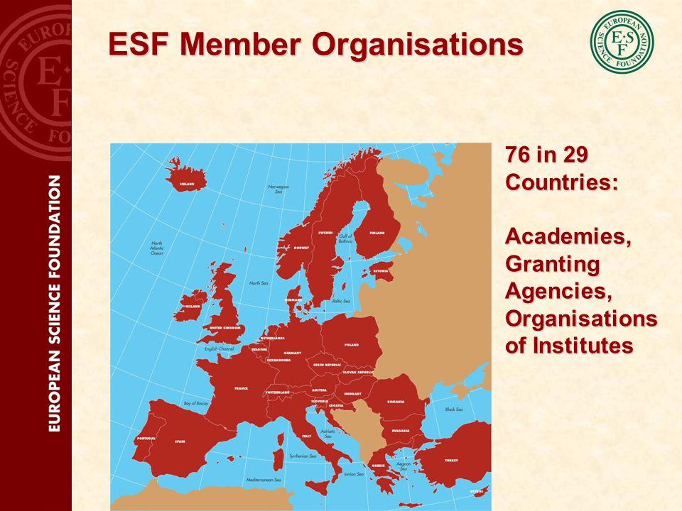 ESF Member Organisations 76 in 29 Countries: Academies, Granting Agencies, Organisations of Institutes