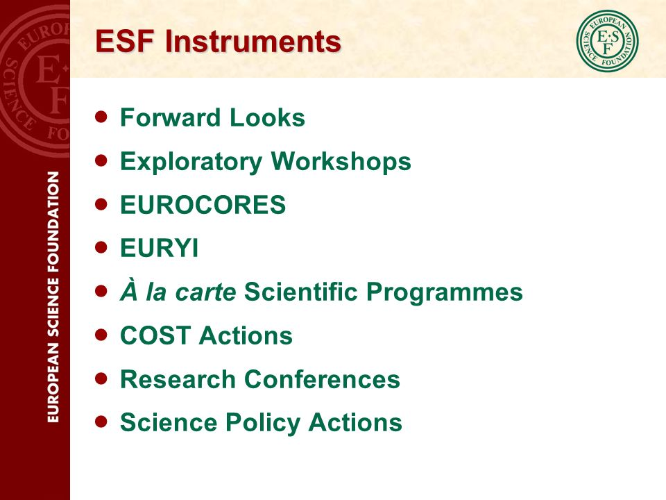 ESF Instruments Forward Looks Exploratory Workshops EUROCORES EURYI À la carte Scientific Programmes COST Actions Research Conferences Science Policy Actions