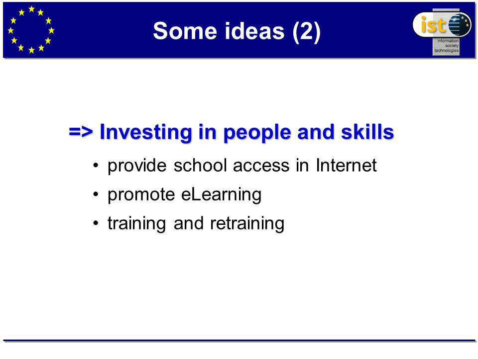 Some ideas (2) => Investing in people and skills provide school access in Internet promote eLearning training and retraining