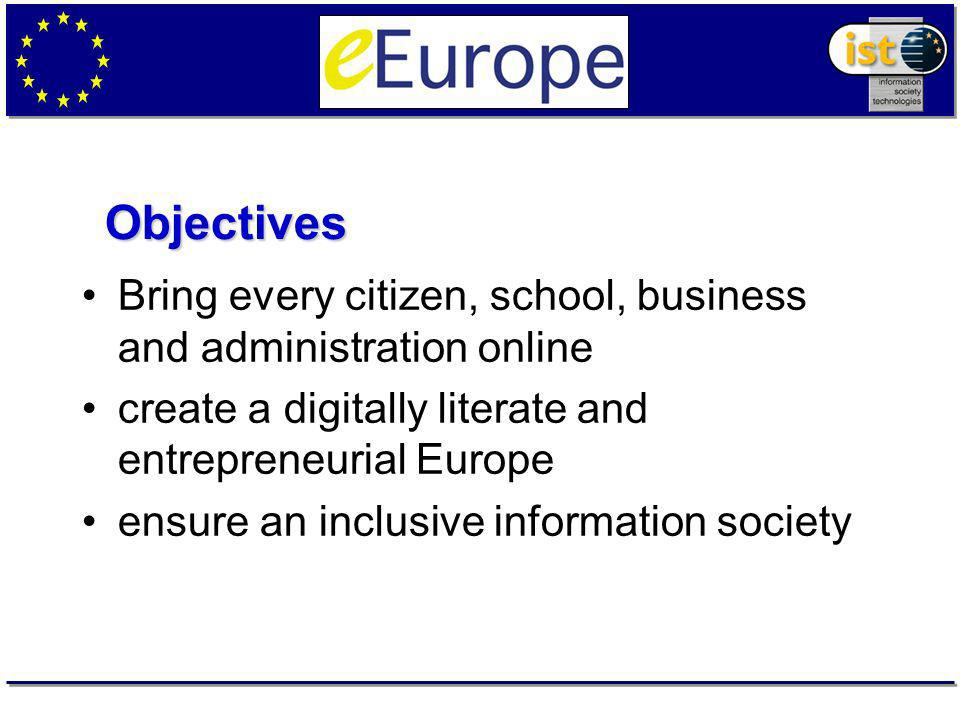Bring every citizen, school, business and administration online create a digitally literate and entrepreneurial Europe ensure an inclusive information society Objectives
