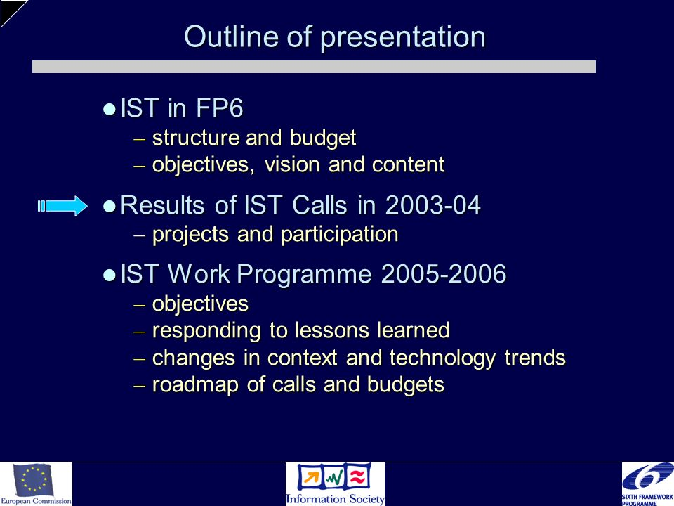Outline of presentation IST in FP6 IST in FP6 – structure and budget – objectives, vision and content Results of IST Calls in 2003-04 Results of IST C