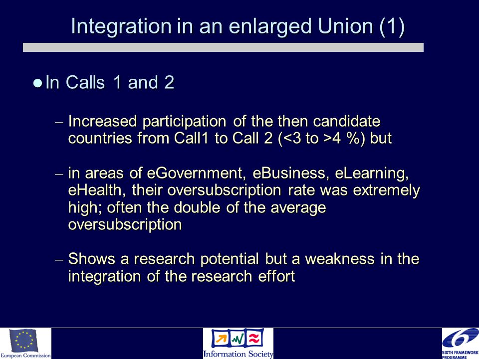 Integration in an enlarged Union (1) In Calls 1 and 2 In Calls 1 and 2 – Increased participation of the then candidate countries from Call1 to Call 2