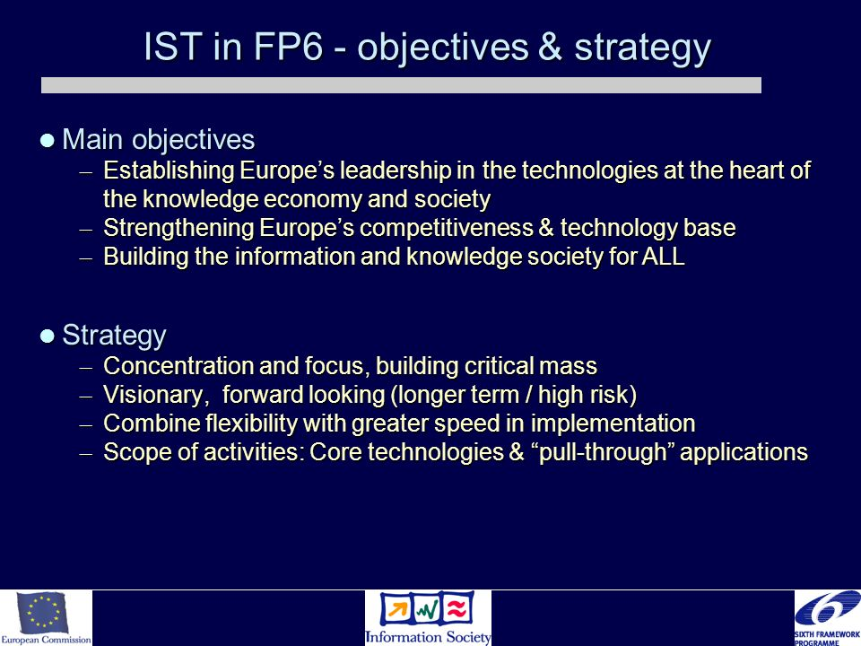 IST in FP6 - objectives & strategy Main objectives Main objectives – Establishing Europes leadership in the technologies at the heart of the knowledge