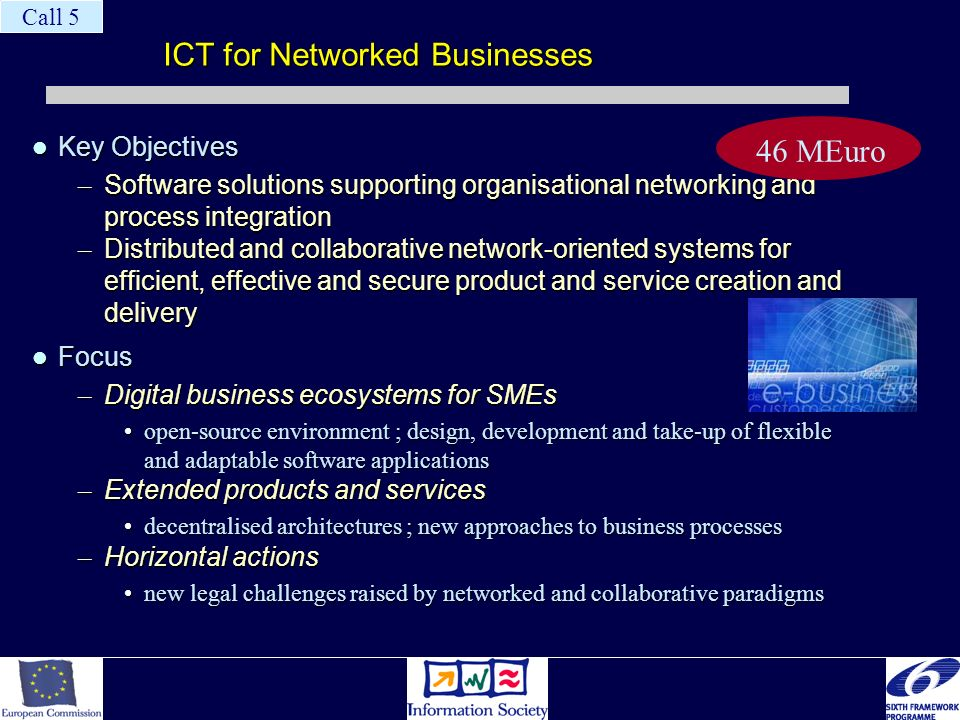 ICT for Networked Businesses Key Objectives Key Objectives – Software solutions supporting organisational networking and process integration – Distrib