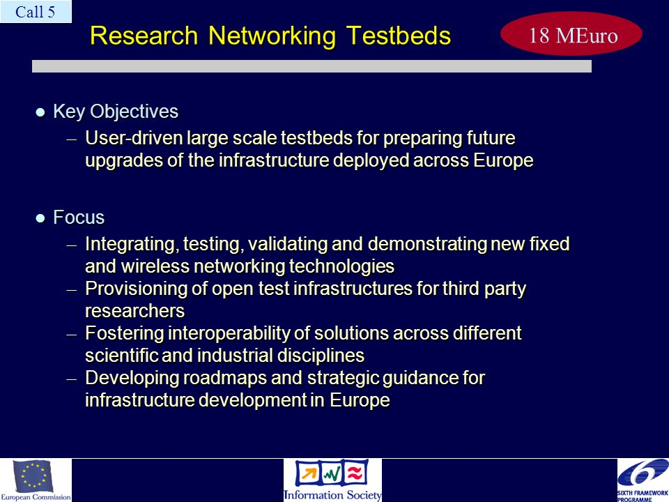 Research Networking Testbeds Key Objectives Key Objectives – User-driven large scale testbeds for preparing future upgrades of the infrastructure depl
