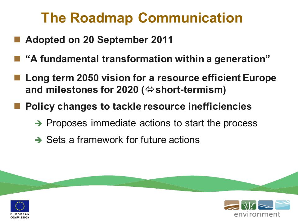 The Roadmap Communication Adopted on 20 September 2011 A fundamental transformation within a generation Long term 2050 vision for a resource efficient