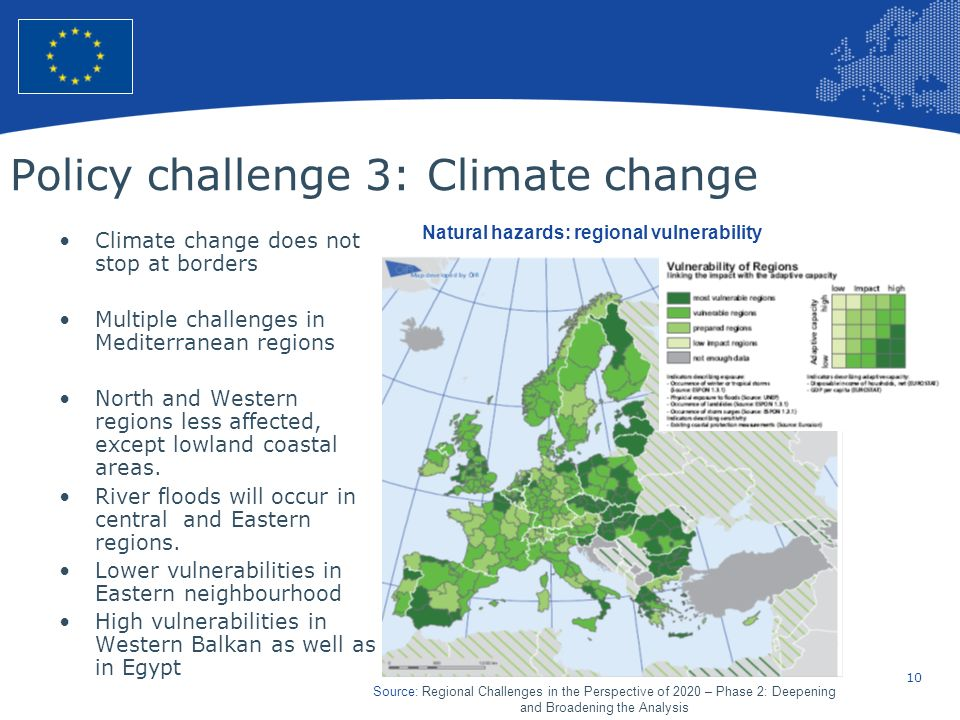 10 European Union Regional Policy – Employment, Social Affairs and Inclusion Policy challenge 3: Climate change Climate change does not stop at border