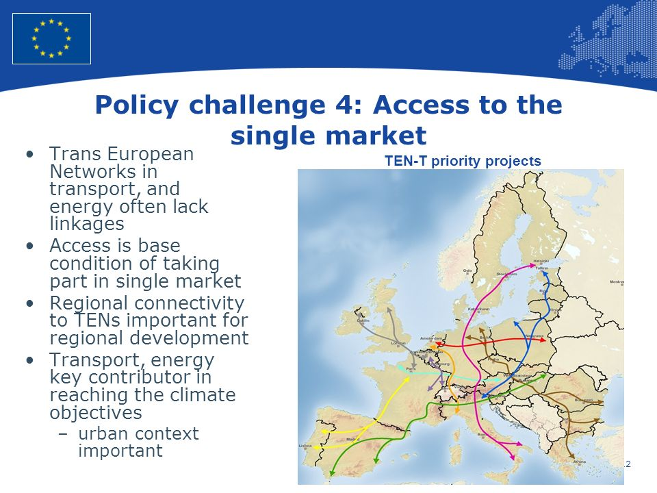 12 European Union Regional Policy – Employment, Social Affairs and Inclusion Policy challenge 4: Access to the single market Trans European Networks i