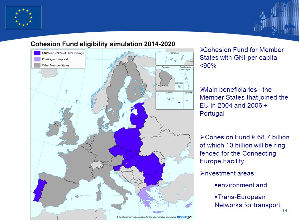 14 European Union Regional Policy – Employment, Social Affairs and Inclusion Cohesion Fund for Member States with GNI per capita <90% Main beneficiari