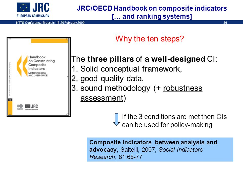 NTTS Conference, Brussels, 18-20 February 200936 JRC/OECD Handbook on composite indicators [… and ranking systems] Why the ten steps.