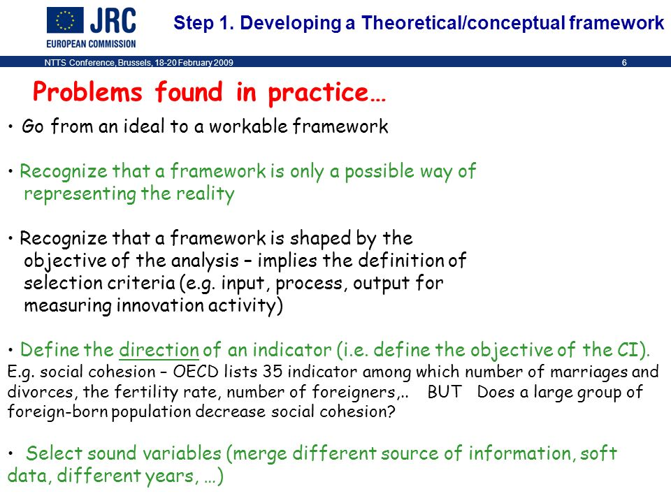NTTS Conference, Brussels, 18-20 February 20096 Problems found in practice… Go from an ideal to a workable framework Recognize that a framework is only a possible way of representing the reality Recognize that a framework is shaped by the objective of the analysis – implies the definition of selection criteria (e.g.