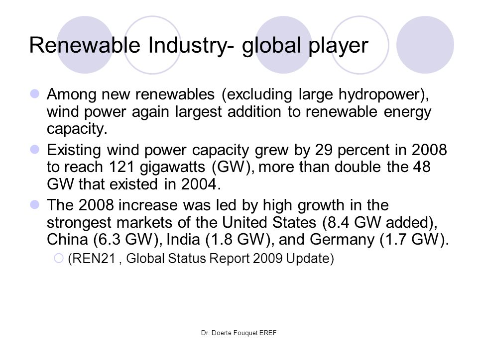 Dr. Doerte Fouquet EREF Renewable Industry- global player Among new renewables (excluding large hydropower), wind power again largest addition to rene