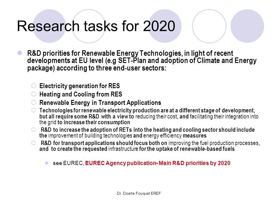 Dr. Doerte Fouquet EREF Research tasks for 2020 R&D priorities for Renewable Energy Technologies, in light of recent developments at EU level (e.g SET
