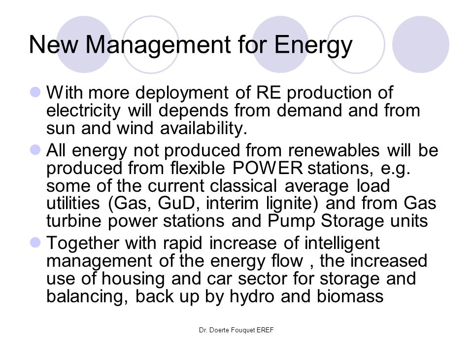 Dr. Doerte Fouquet EREF New Management for Energy With more deployment of RE production of electricity will depends from demand and from sun and wind