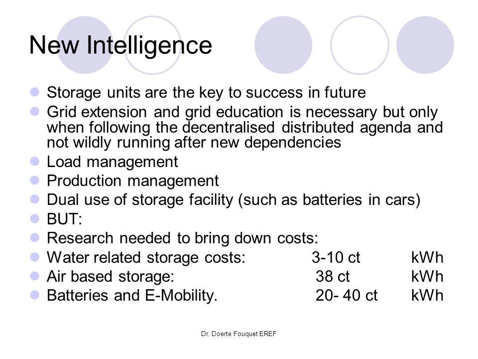 Dr. Doerte Fouquet EREF New Intelligence Storage units are the key to success in future Grid extension and grid education is necessary but only when f
