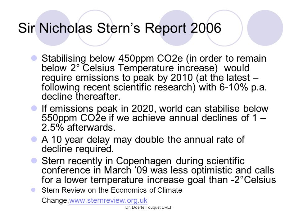 Dr. Doerte Fouquet EREF Sir Nicholas Sterns Report 2006 Stabilising below 450ppm CO2e (in order to remain below 2° Celsius Temperature increase) would