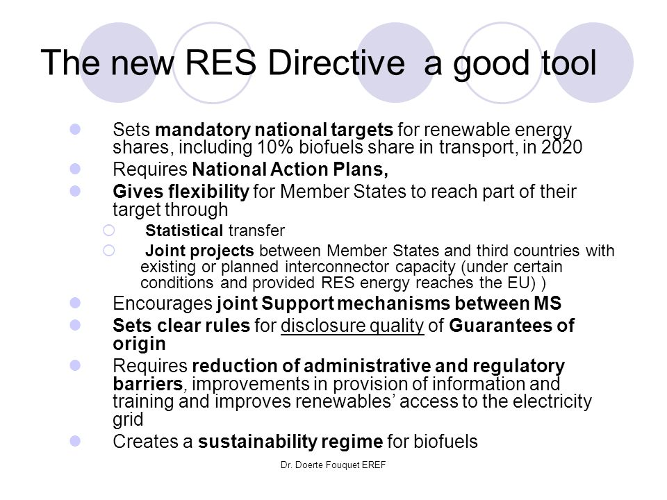 Dr. Doerte Fouquet EREF The new RES Directive a good tool Sets mandatory national targets for renewable energy shares, including 10% biofuels share in