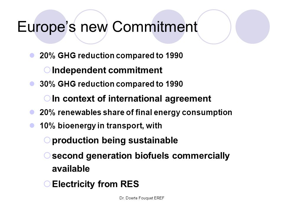 Dr. Doerte Fouquet EREF Europes new Commitment 20% GHG reduction compared to 1990 Independent commitment 30% GHG reduction compared to 1990 In context