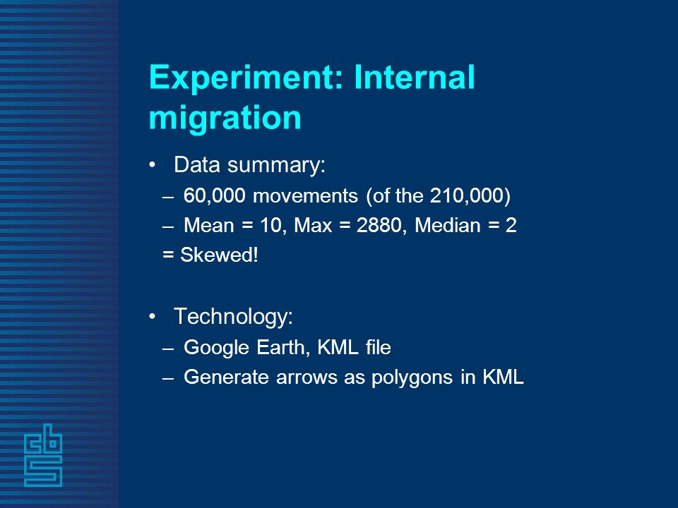 Experiment: Internal migration Data summary: –60,000 movements (of the 210,000) –Mean = 10, Max = 2880, Median = 2 = Skewed.