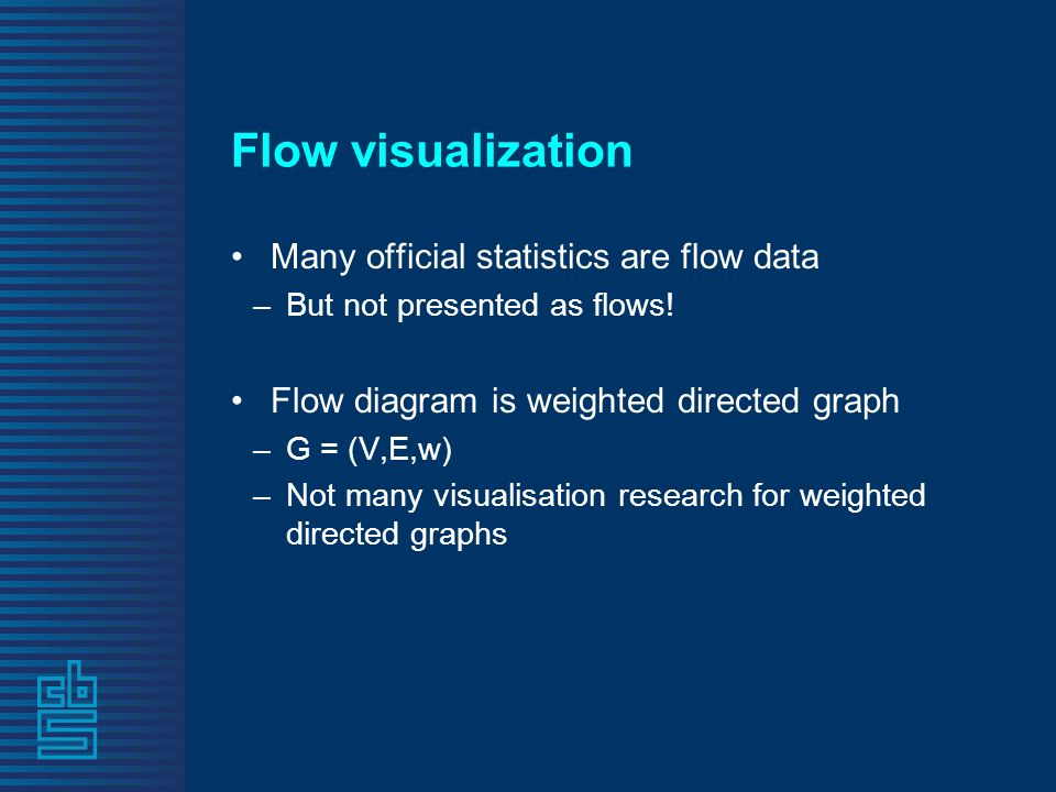 Flow visualization Many official statistics are flow data –But not presented as flows.