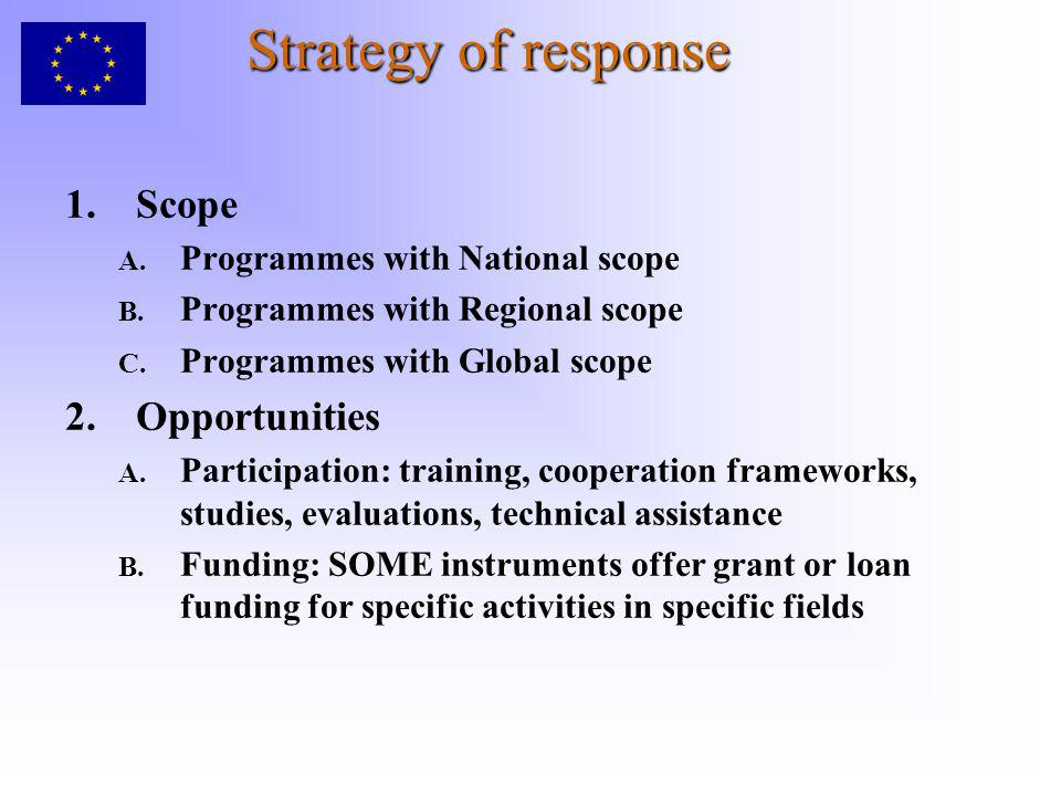 Strategy of response 1.Scope A. Programmes with National scope B. Programmes with Regional scope C. Programmes with Global scope 2.Opportunities A. Pa