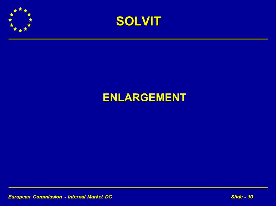 European Commission - Internal Market DGSlide - 10 SOLVIT ENLARGEMENT