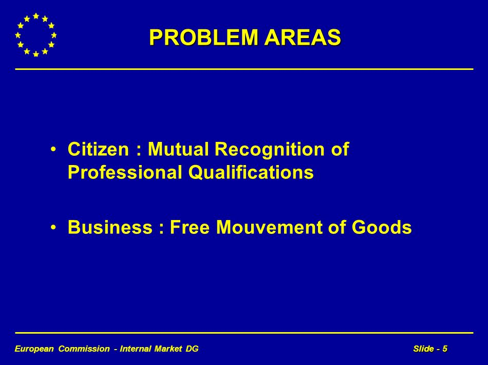 European Commission - Internal Market DGSlide - 5 PROBLEM AREAS Citizen : Mutual Recognition of Professional Qualifications Business : Free Mouvement of Goods