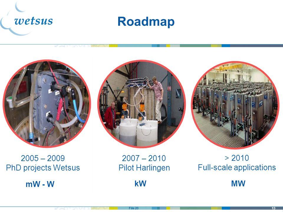 13File 20 Roadmap 2005 – 2009 PhD projects Wetsus 2007 – 2010 Pilot Harlingen > 2010 Full-scale applications mW - W kWMW