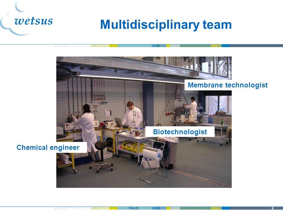6File 20 Multidisciplinary team Chemical engineer Membrane technologist Biotechnologist