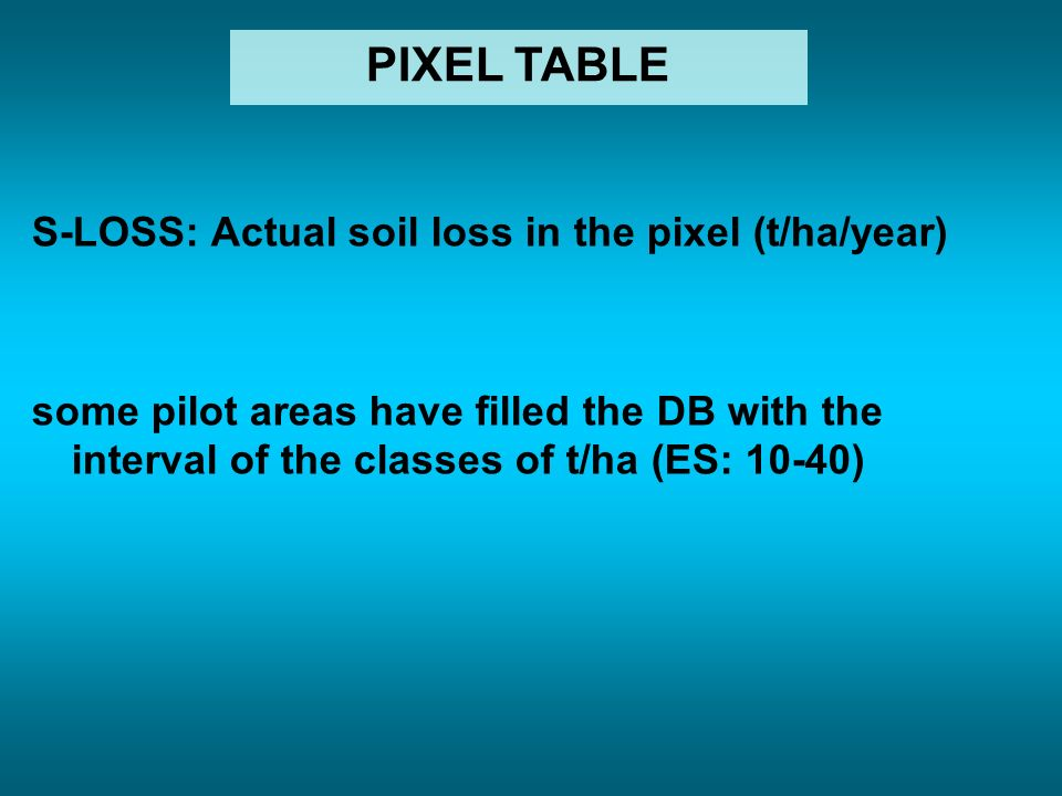 S-LOSS: Actual soil loss in the pixel (t/ha/year) some pilot areas have filled the DB with the interval of the classes of t/ha (ES: 10-40) PIXEL TABLE