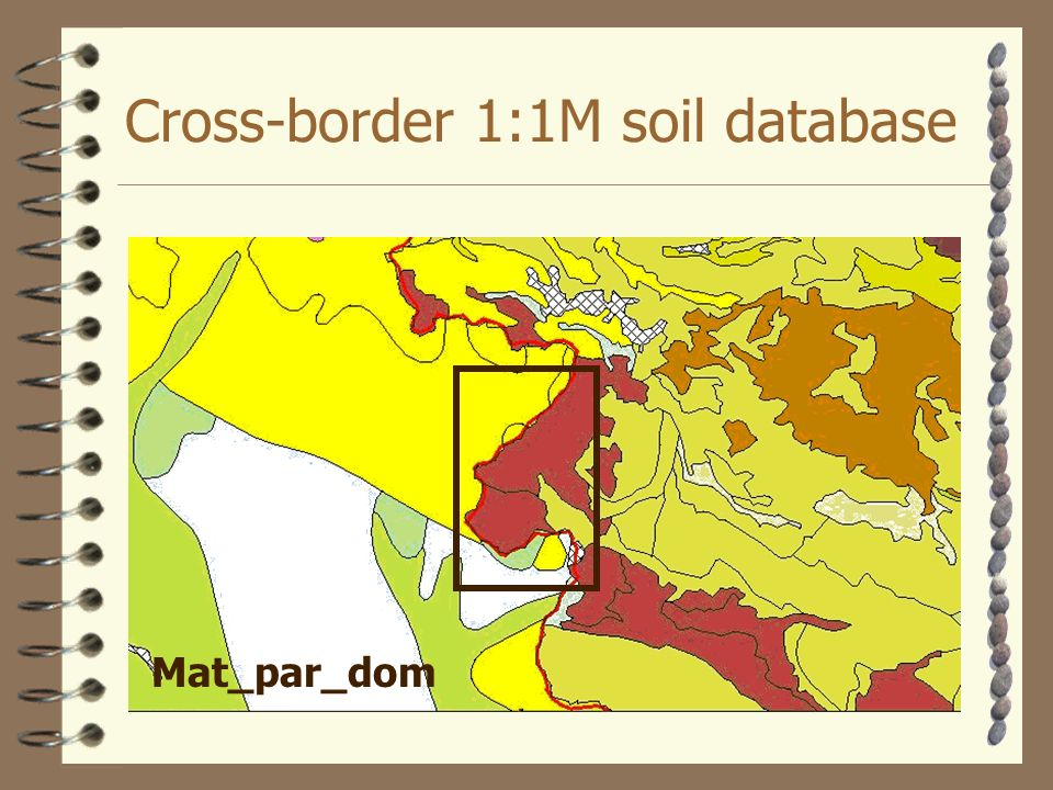Cross-border 1:1M soil database Mat_par_dom