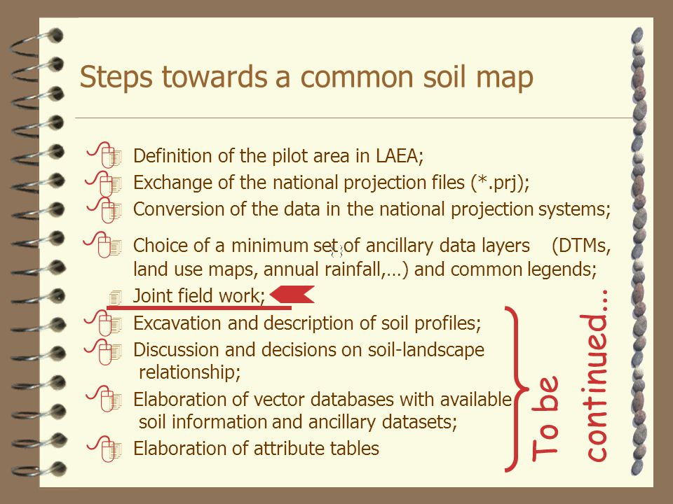 Steps towards a common soil map 4 Definition of the pilot area in LAEA; 4 Exchange of the national projection files (*.prj); 4 Conversion of the data in the national projection systems; 4 Choice of a minimum set of ancillary data layers (DTMs, land use maps, annual rainfall,…) and common legends; 4 Joint field work; 4 Excavation and description of soil profiles; 4 Discussion and decisions on soil-landscape relationship; 4 Elaboration of vector databases with available soil information and ancillary datasets; 4 Elaboration of attribute tables To be continued...