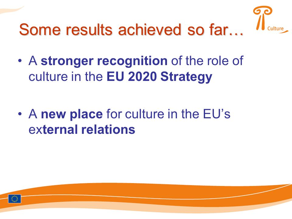 Some results achieved so far… A stronger recognition of the role of culture in the EU 2020 Strategy A new place for culture in the EUs external relations