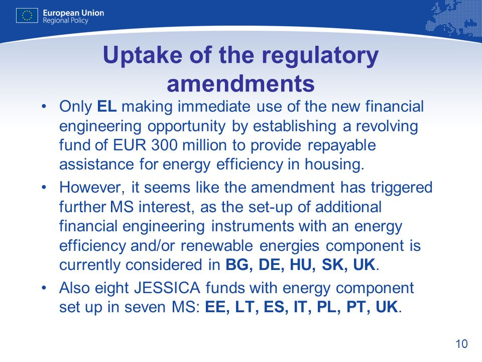 10 Uptake of the regulatory amendments Only EL making immediate use of the new financial engineering opportunity by establishing a revolving fund of E