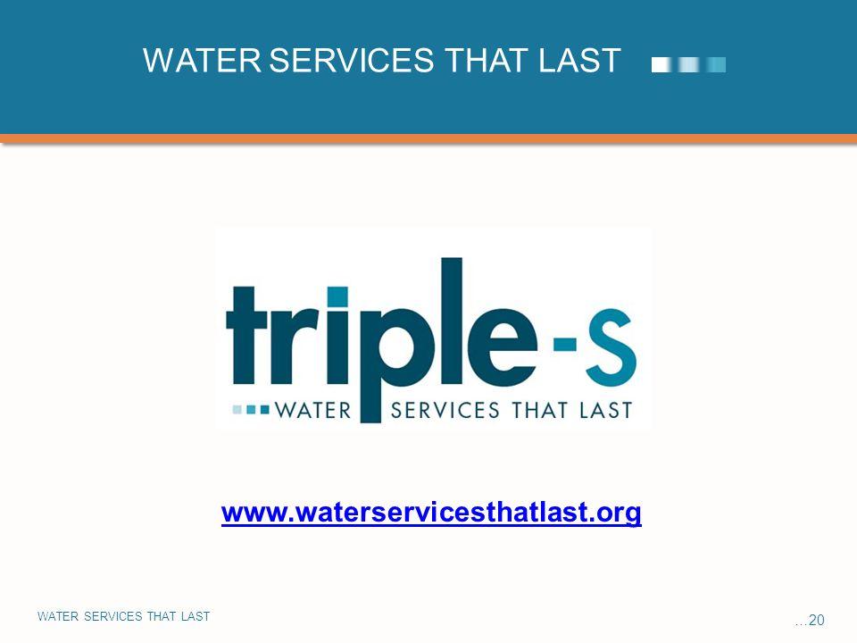 WATER SERVICES THAT LAST …20 WATER SERVICES THAT LAST www.waterservicesthatlast.org