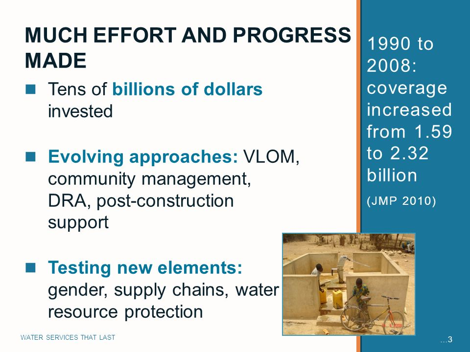WATER SERVICES THAT LAST … to 2008: coverage increased from 1.59 to 2.32 billion (JMP 2010) Tens of billions of dollars invested Evolving approaches: VLOM, community management, DRA, post-construction support Testing new elements: gender, supply chains, water resource protection MUCH EFFORT AND PROGRESS MADE