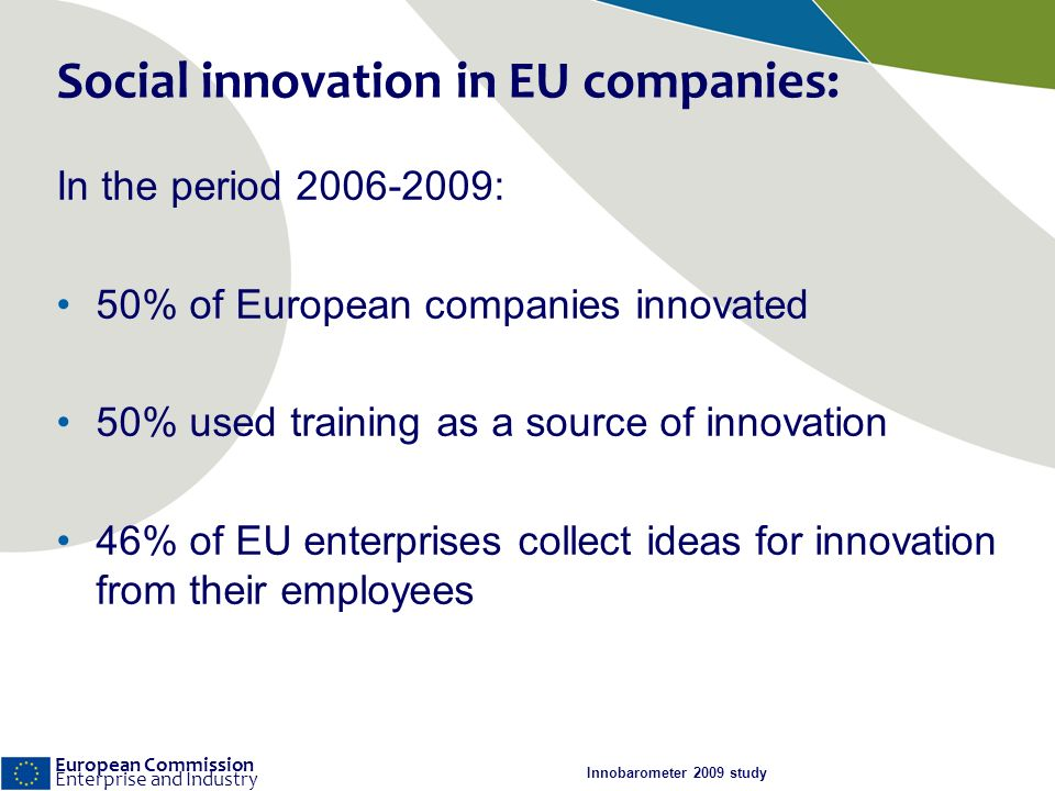 European Commission Enterprise and Industry Social innovation in EU companies: In the period 2006-2009: 50% of European companies innovated 50% used training as a source of innovation 46% of EU enterprises collect ideas for innovation from their employees Innobarometer 2009 study
