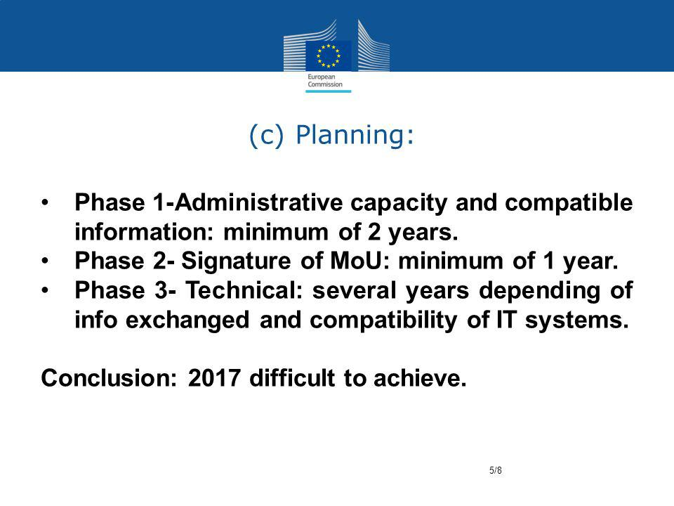 (c) Planning: Phase 1-Administrative capacity and compatible information: minimum of 2 years.