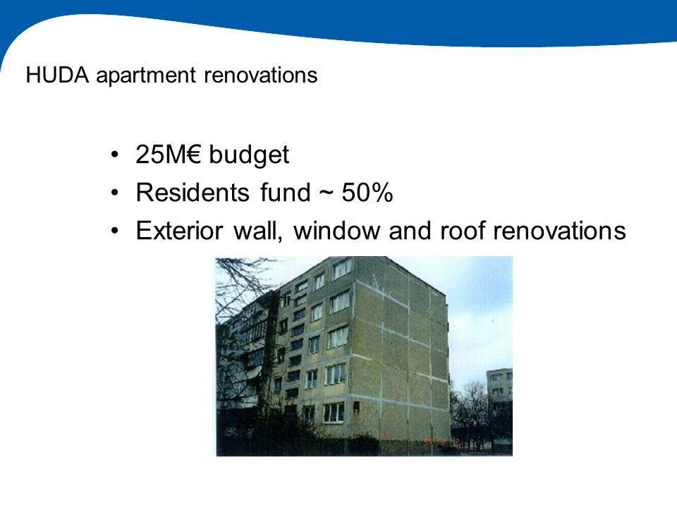 HUDA apartment renovations 25M budget Residents fund ~ 50% Exterior wall, window and roof renovations