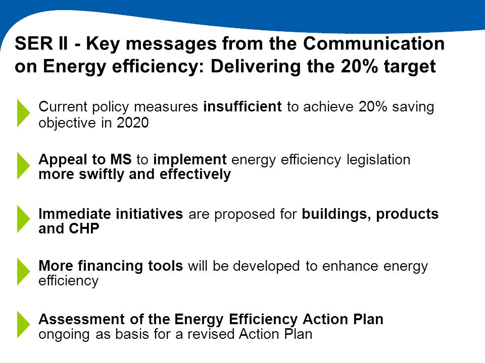 Current policy measures insufficient to achieve 20% saving objective in 2020 Immediate initiatives are proposed for buildings, products and CHP Appeal