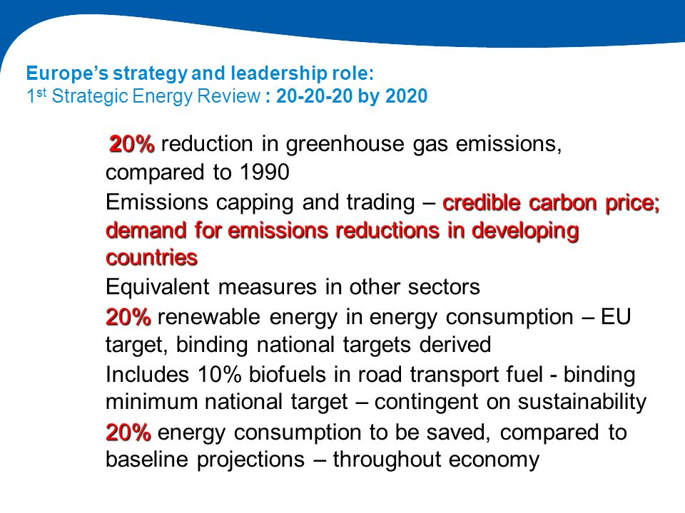 20% reduction in greenhouse gas emissions, compared to 1990 Emissions capping and trading – credible carbon price; demand for emissions reductions in