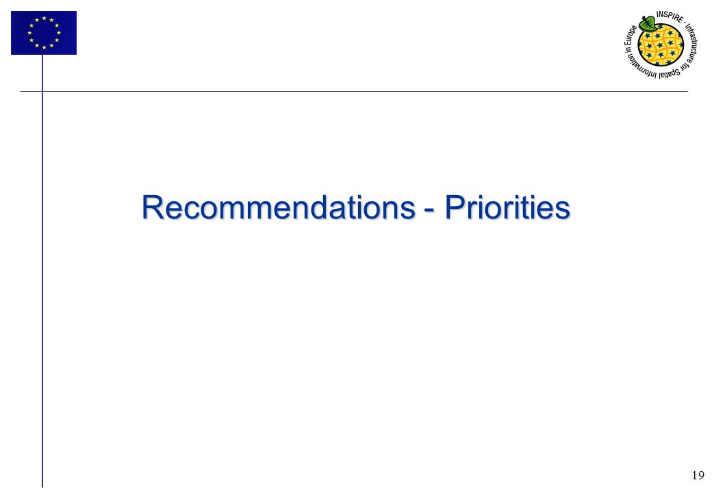 19 Recommendations - Priorities 19