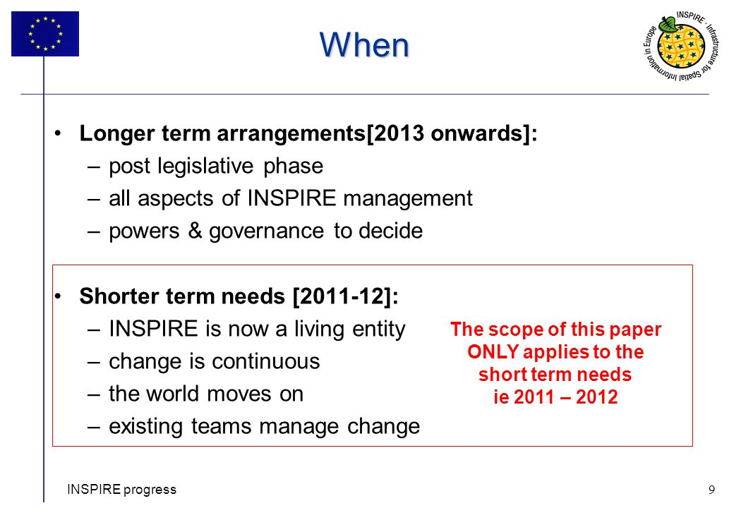 9 When Longer term arrangements[2013 onwards]: –post legislative phase –all aspects of INSPIRE management –powers & governance to decide Shorter term needs [2011-12]: –INSPIRE is now a living entity –change is continuous –the world moves on –existing teams manage change INSPIRE progress 9 The scope of this paper ONLY applies to the short term needs ie 2011 – 2012