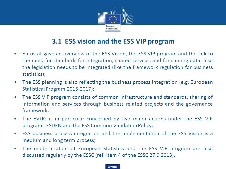 Eurostat 3.1 ESS vision and the ESS VIP program Eurostat gave an overview of the ESS Vision, the ESS VIP program and the link to the need for standard