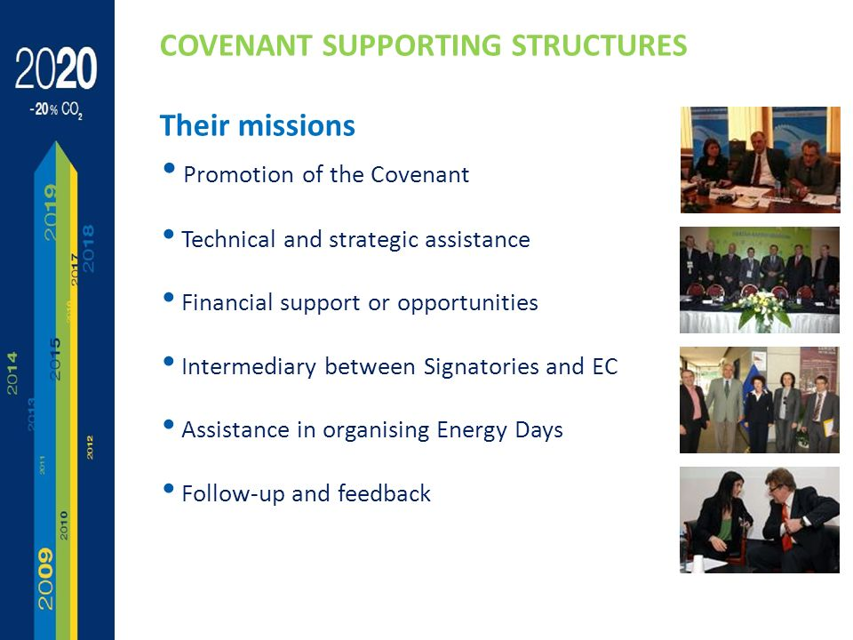 13 Promotion of the Covenant Technical and strategic assistance Financial support or opportunities Intermediary between Signatories and EC Assistance in organising Energy Days Follow-up and feedback COVENANT SUPPORTING STRUCTURES Their missions