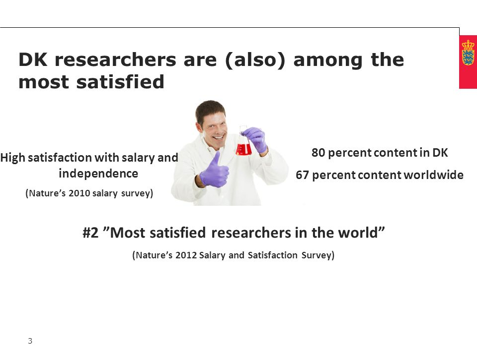 Minimum clear margin for text Fixed margin DK researchers are (also) among the most satisfied #2 Most satisfied researchers in the world (Natures 2012