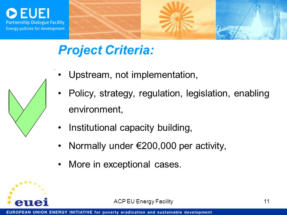 Project Criteria: Upstream, not implementation, Policy, strategy, regulation, legislation, enabling environment, Institutional capacity building, Norm